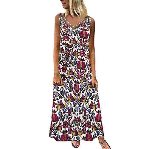 Women Short Sleeve Loose Maxi Dresses Casual Long Dresses with Pockets Vintage Flower Print Casusl Dress Red