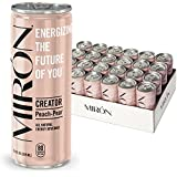 Mirón Peach Pear All Natural Sparkling Energy Beverage 8.4 Fl.Oz. Cans (Pack of 24)