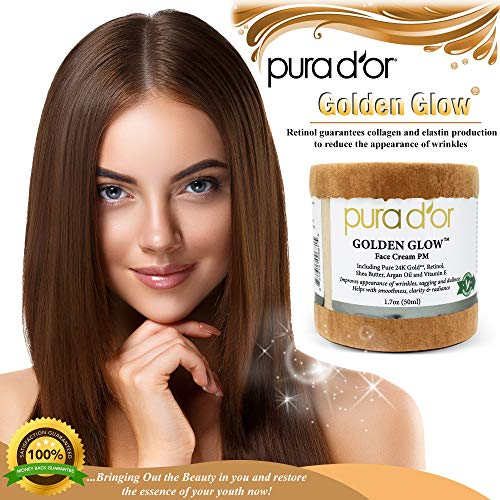 51LKNyNaW8L - PURA D'OR Golden Glow Face Cream PM - Anti Aging Face Cream With Pure 24K Gold for Firmer Skin, Reduced Appearance of Wrinkles and Increased Appearance of Brighter Skin (1.7oz)