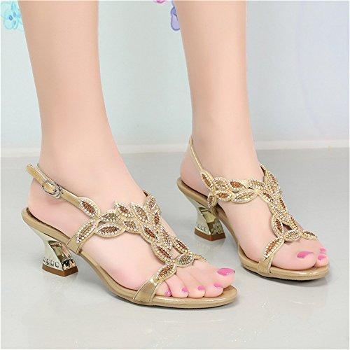 Nupcial Nvxie Resplandecer Cuero 42 Grueso Zapatos Nocturna A Mujer Diamante Sandalias Imitación Boda Tamaño De 35 Fiesta Tacón Banquete Vestir Zapatillas Golden ppqrX