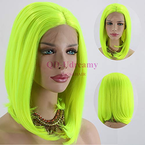QD-Udreamy Neon Yellow Glueless Lace Front Wigs Short Bob Natural Hair Realistic Looking Synthetic Lace Front Wigs for Women]()
