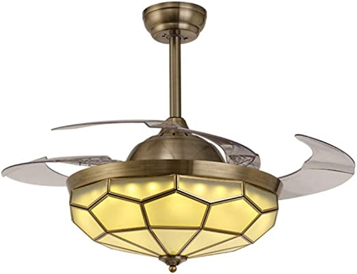 Ventilador de techo invisible de 42 Lámpara de cobre con ventilador de cobre Aspas retráctiles modernas Ventilador de techo con control remoto para comedor, sala de estar, dormitorio, restaurante: Amazon.es: Hogar