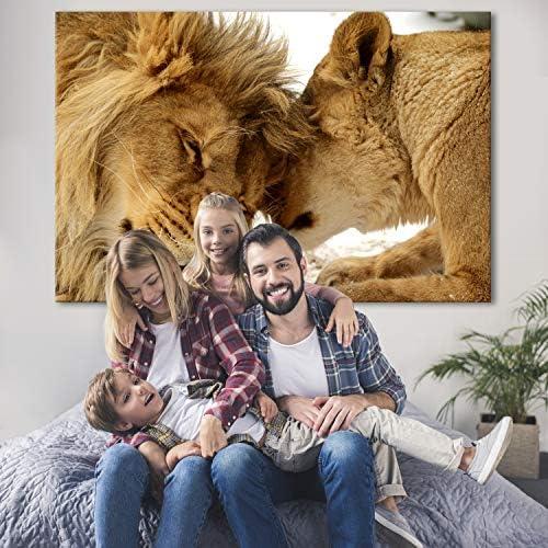 artgeist Canvas Wall Art Mega XXXL Extra Large Lion 64.9″ x 43.3″ Canvas Prints Self-Assembly DIY Home Decor Big Picture Photo Painting Artwork Image Love Africa Animal g-B-0034-ak-b
