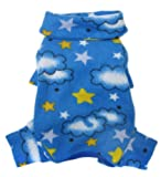 Soft Fleece Clouds and Stars Turtleneck Bodysuit/Pajamas for Small Dogs – M, My Pet Supplies