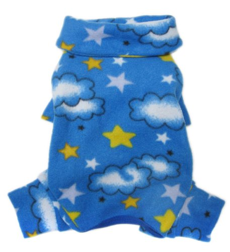Soft Fleece Clouds and Stars Turtleneck Bodysuit/Pajamas for Small Dogs – S, My Pet Supplies