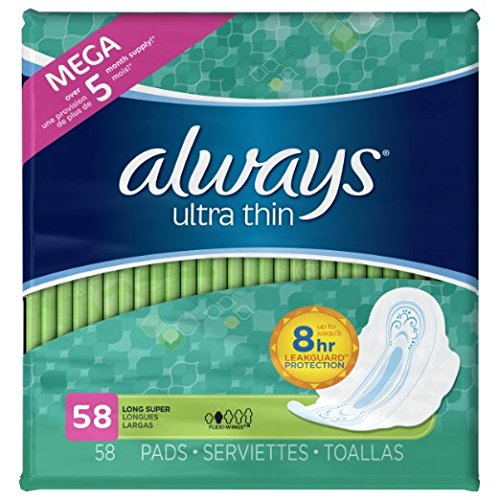 Always Ultra Thin Long/Super With Wings, Unscented Pads 58 Count (Pack of 2)