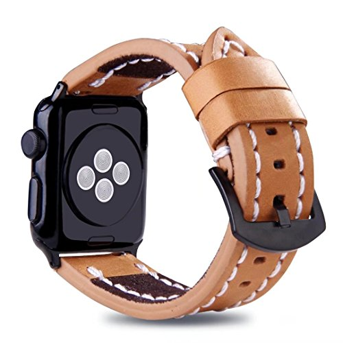 For Apple Watch Strap 38mm, Handmade Stitched Edges Leather Band Vintage Wristband with Black Buckle for 38mm Apple Watch Series 3/2/1 (Brown) Design Cellular Phone Replacement Antenna