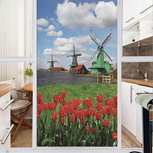 Decorative Window Film,No Glue Frosted Privacy Film,Stained Glass Door Film,Traditional Dutch Windmills with Red Tulips in Amsterdam Scenic Field River Decorative,for Home & Office,23.6In. by 78.7In M