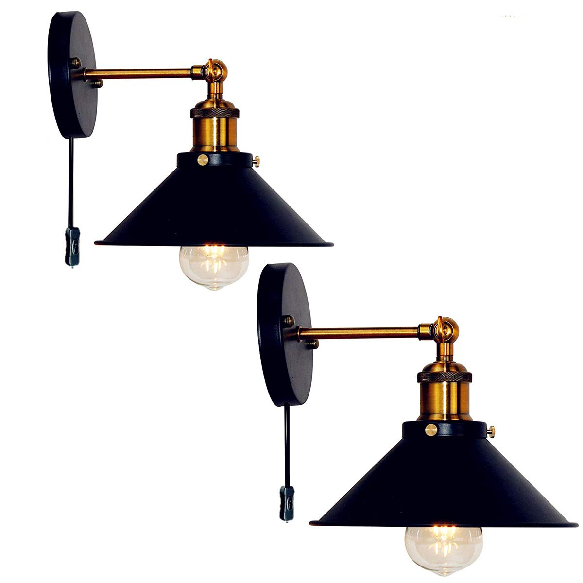 Retro Wall Sconces Light Wall Lamp Plug In Cord With On Off Switch E26 Base Black Wall Industrial Vintage Edison Lamp Fixture Steel Finished for Indoors Bedroom (Plug in cord X2 Sets)
