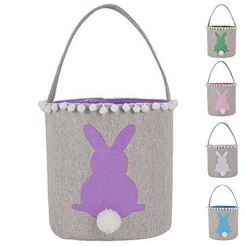 Easter Bunny Basket Bags Burlap Cotton Carrying Gift and Eggs Tote Storage Personalized Easter Bunny Bag with Tassel (T-Purple)