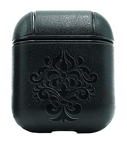 Damask Silhouette (Vintage Black) Air Pods Protective Leather Case Cover - a New Class of Luxury to Your AirPods - Premium PU Leather and Handmade exquisitely by Master Craftsmen (Damask Silhouette)