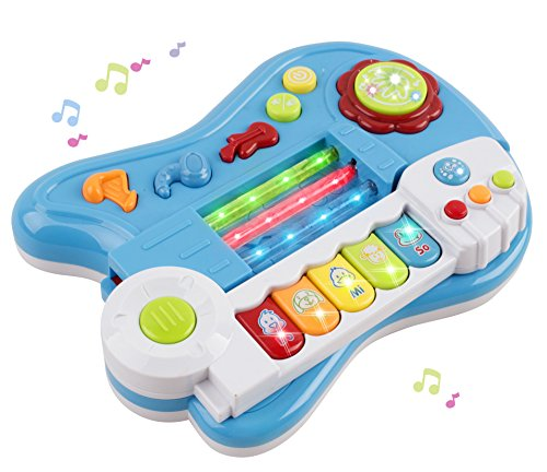 Toy-Guitar-Battery-3-in-1-Electric-Kids-Guitar-Toy-with-Violin-Stick-and-Piano-Keyboard-Transformation-w-Lights-For-Kids-Boys-Girls-Children-Educational-Musical-Set-Blue