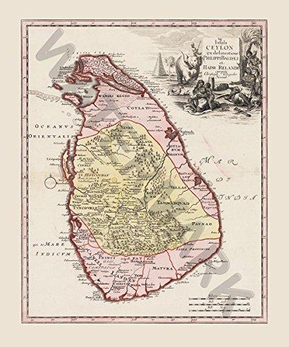 Balda Relandi Map Ceylon Sri Lanka Huge Art Print Poster