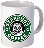 Starpugs pugs coffee dog face- Funny coffee mug by Donbicentenario - 11OZ Ceramic - Best gift or souvenir. SHIPS FROM USA