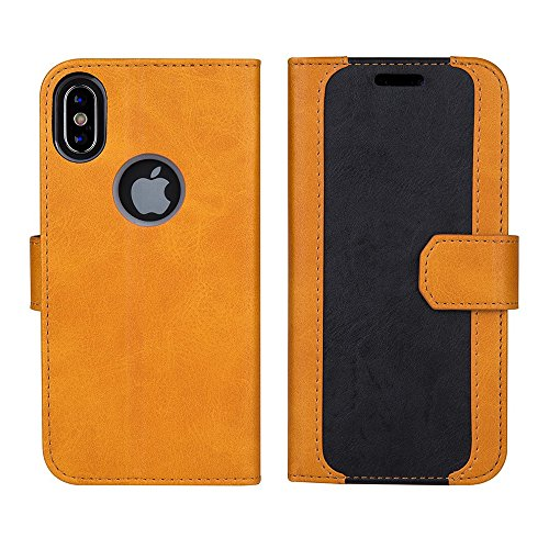 (AboveXYZ SlimX Wallet Case for iPhone X, iPhone Xs, Three Card Slots, Lightweight Compact, Premium bi-cast Leather, Durable TPU case, Secured Closure, Black/Brown Two-Tone Color)