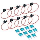 FICBOX 10 Pack in-Line Car ATC/ATO Middle Blade Fuse Holder Waterproof 16AWG Upto 20 AMP(Include 10pcs 15A Fuse)