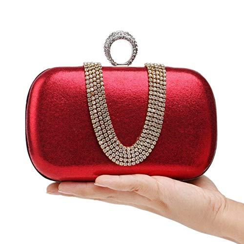 Rojo color Forma U Eeayyygch Cena Noche Banquete Exquisito Mano Oro En Diamantes Lady Taladro Tamaño De Moda color Bag Bolso Rojo Small UqUA1p