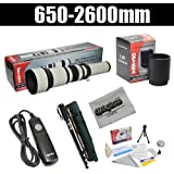 """Opteka 650-2600mm High Definition Telephoto Zoom Lens with 67"""" Monopod Kit for Pentax K-S1, K-500, K-50, K-30, K5 IIs, K-7, K-5, K-3, K-2, K-X, K20D, K100D, K110D and K10D Digital SLR Cameras"""