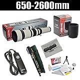 """Opteka 650-2600mm High Definition Telephoto Zoom Lens with 67"""" Monopod Kit for Olympus EVOLT E-5, E-520, E-510, E-500, E-450, E-420, E-410, E-400, E-330 and E-300 Digital SLR Cameras"""