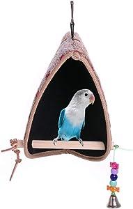 QBLEEV Bird Winter Plush Hut Tent Nest Stand Parrot Bed Sleep Parakeet Cage Cave Cockatiel Birdcage Hanging Decor Perch Ladder Habitat Winter Warm Birdhouse for Small Animals Conure Cockatoo Finch