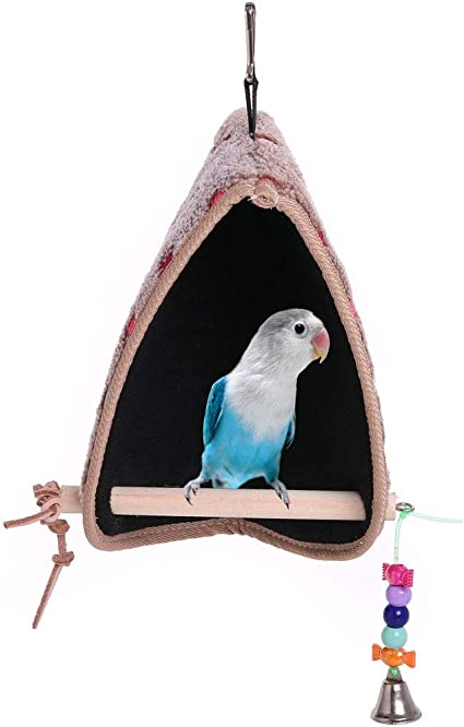 Amazon Com Qbleev Bird Winter Plush Hut Tent Nest Stand Parrot Bed Sleep Parakeet Cage Cave Cockatiel Birdcage Hanging Decor Perch Ladder Habitat Winter Warm Birdhouse For Small Animals Conure Cockatoo Finch