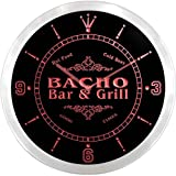 ncu01845-r BACHO Family Name Bar & Grill Cold Beer Neon Sign LED Wall Clock
