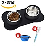 Cheap Joyous Journey Stainless Steel Double Feeder Bowl, Water & Food Bowls in Non-Skid & No Spill Silicone Tray & Mat, Bone Shape Bowls for Dogs & Cats (Black)