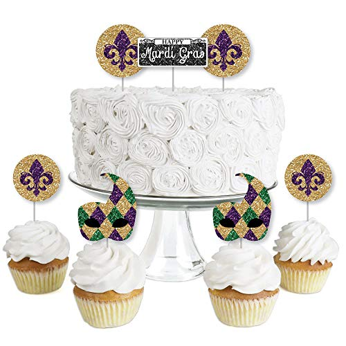Mardi Gras - Dessert Cupcake Toppers - Masquerade Party Clear Treat Picks - Set of -