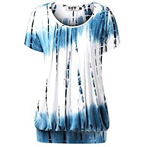 DJT Women's Scoop Neck Pleated Front Blouse Tunic Top