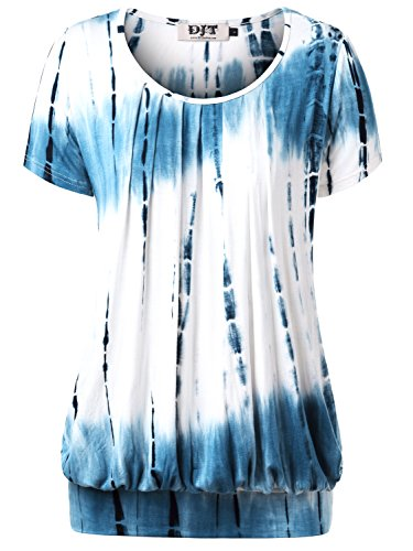DJT Women's Short Sleeve Pleated Front Blouse Tunic Top Large Tie Dye Blue (Banded Bottom Tunic)