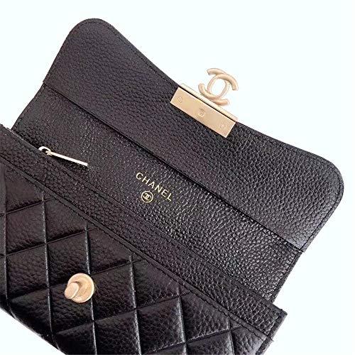 80b00db3d789 ファッション カジュアル ロングウォレット 財布クラッチ シャネル風キャビアスキン モノグラム ブラック×ゴールド レディース財布