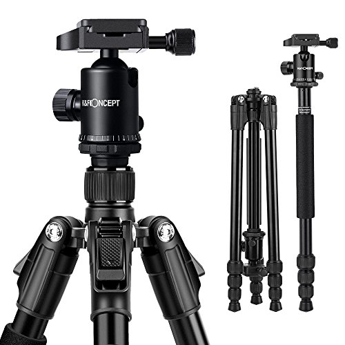 K&F Concept TM2534B 64'' Compact Lightweight Aluminium Camera Tripod with 360 Ball Head Quick Release Plate for Nikon Canon DSLR and Digital Camera