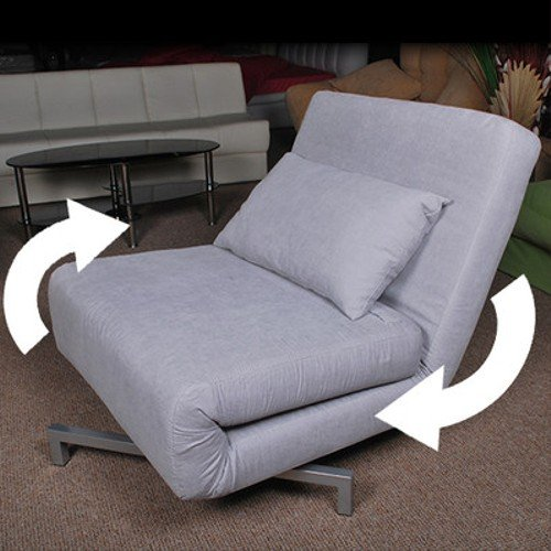 Grey Futon Single Sofa Chair Bed Metal Frame 360 Swivel Adjustable Recline:  Amazon.co.uk: Kitchen U0026 Home