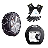 Snow Chains For Sports Utility Vehicle and Vans – for Tyre Size 235/60 R18  – Royal Thule XB-16 Necklace with Ö-Norm 5117/Ö/Certified by the German Technical Control Board Set BB EP Gloves