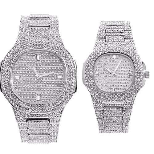 King and Queen of Hip Hop - Blinged Out Tick Tock - Mens and Ladies Matching Iced Out Watches Have Actual Rhinestones All Over Dial, Case and Band - Bling on Blast Gift Set - 8967/ST10266 Silver