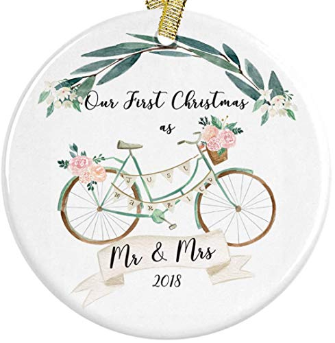 Our First Christmas as Mr and Mrs 2018 Boho Floral Bicycle Ceramic Round Ornament, Engagement 3
