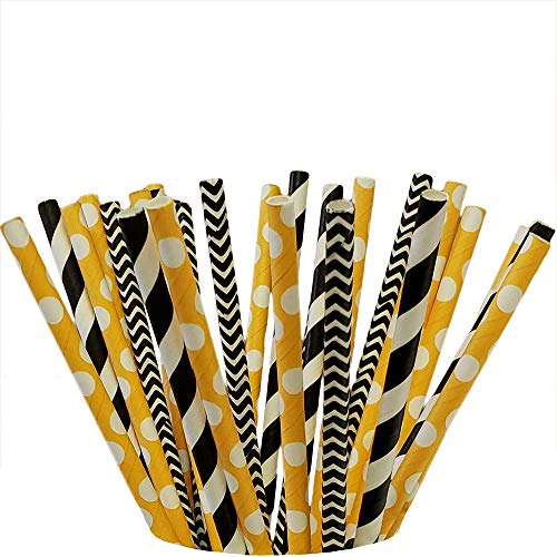 Bumblebee 100 pcs Biodegradable Paper Straw, Drinking Straws for Birthdays, Weddings, Baby Showers, Celebrations and Parties
