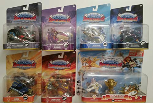 Skylanders SuperChargers 7 Pack Vehicle Starter Bundle! 7 Vehicles, 1 Trophy, 1 Character: Crypt Crusher, Sea Shadow,Jet Stream, Splatter Splasher,Shield Striker, Burn -Cycle, and Sky Racing Pack]()