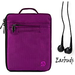 "Amazon Kindle Fire HD 7"" LCD Display, Wi-Fi, 8GB PURPLE Carrying Jacket Cover Case, Smooth Patent Faux Leather Protective Durable Quality Sleeve with accessories compartment + Includes a Crystal Clear HD Noise Filter Ear buds Earphones Headphones ( 3.5mm Jack )"