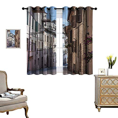 Anyangeight Mediterranean Blackout Window Curtain Italian Apartments in Aged City Countryside Italy Dreamy Path Destination Photo Customized Curtains W72 x L45 Multi