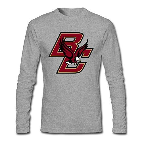 MINNRI Men's Boston College Eagles Long Sleeve T-shirt Grey XL