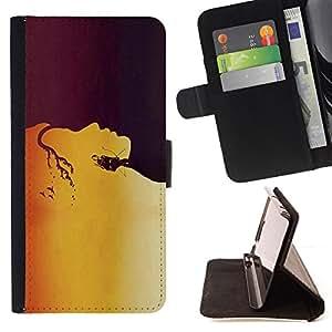 BullDog Case - FOR/Sony Xperia Z1 L39 / - / Golden Face Pattern /- Monedero de cuero de la PU Llevar cubierta de la caja con el ID Credit Card Slots Flip funda de cuer