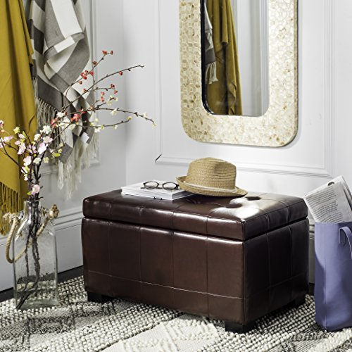 (Safavieh Hudson Collection Nolita Leather Small Storage Bench, Cordovan)