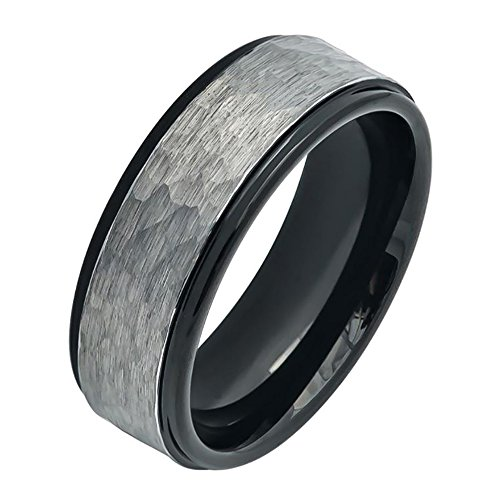 Gunmetal Finish Accents (8MM Comfort Fit Tungsten Carbide Wedding Band Stepped Edge Hammered Gun Metal Brush finish Ring (7 to 15), 9.5)
