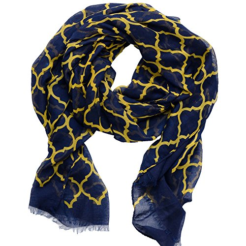 Tickled Pink Women's Vibrant Royal Lightweight Oblong Scarf, Navy & Gold One -