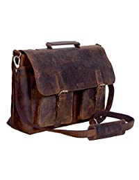 Leather Messenger Laptop Briefcase Bag - 18 Inch Retro Buffalo Hunter Leather Bag for Office, Collage, Outdoor, Travel, Computer, Laptop - For Men and Women - By KomalC