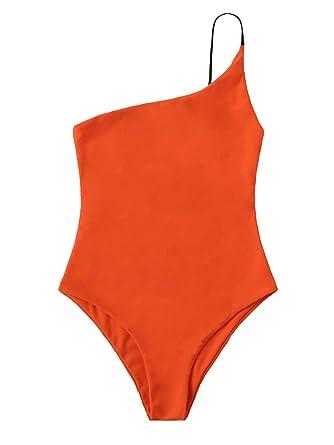 527192024ce SweatyRocks Women's Bathing Suits One Shoulder One Piece Swimsuits Monokini  Orange Small