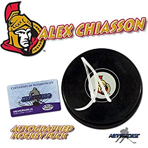"ALEX CHIASSON Signed OTTAWA SENATORS Puck w/COA ""NEW"" #2 - Autographed NHL Pucks"