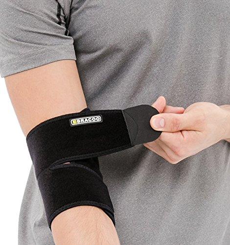 Atmungsaktive Ellbogenbandage mit Klettverschluss - Ellbogenschoner beim Sport wie Volleyball, Tennis und Handball - Bracoo Ellenbogenbandage für Damen und Herren