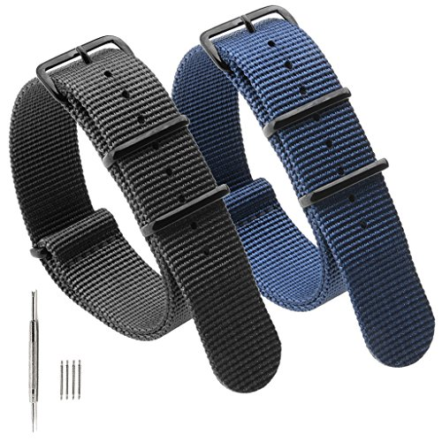 2PCS Nato Strap Canvas Fabric Nylon Watch Bands with Stainless Steel Buckle,Adebena Ballistic Replacement Nato Watch Straps Width 22mm Black Blue - Game Day Steel Band Watch